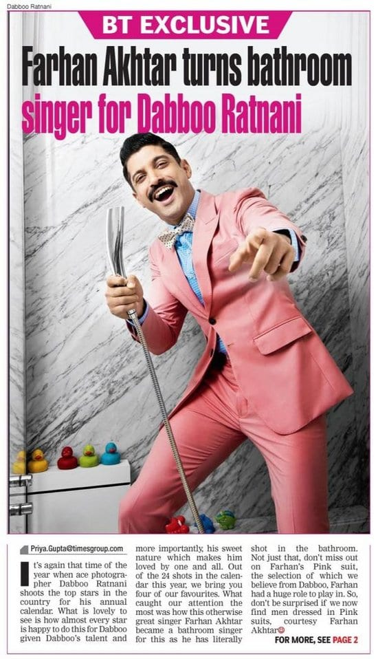 Farhan Akhtar Sings in the Bathroom for Dabboo Ratnani's 2015 Calendar
