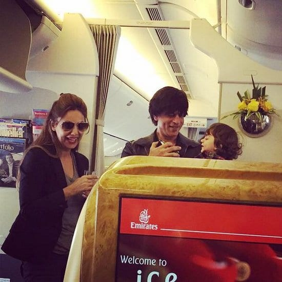 Shah Rukh Khan, Gauri Khan and AbRam Khan Spotted on an Emirates Flight
