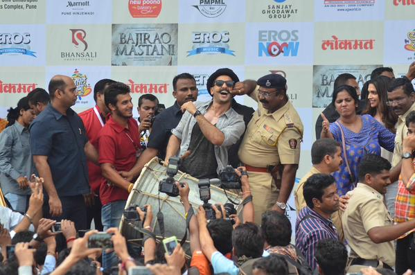 Policeman playfully touches Ranveer Singh's moustache at the Launch of Gajanana in Pune