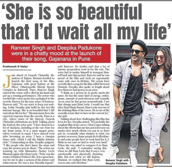 Ranveer Singh says he can forever for Deepika Padukone