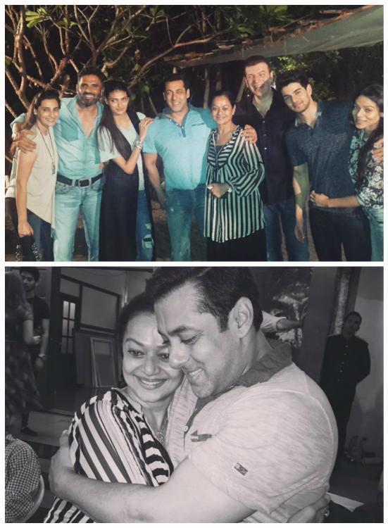 Salman Khan, Sooraj Pancholi, Athiya Shetty, Sunil Shetty, Zarina Wahab, Aditya Pancholi, Mana Shetty and Sana Pancholi at the Screening of Hero