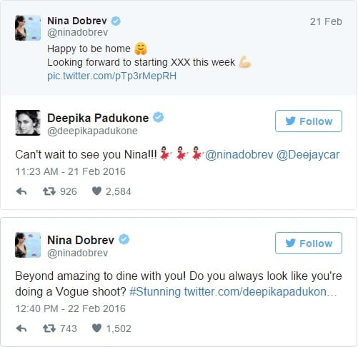 Nina Dobrev and Deepika Padukone Play of Words
