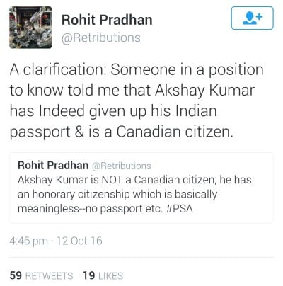 Why does Akshay Kumar have a Canadian passport