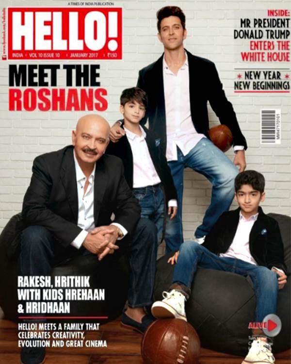 Hrithik Roshan with Rakesh Roshan, Hreehan and Hridhaan on Hello Magazine