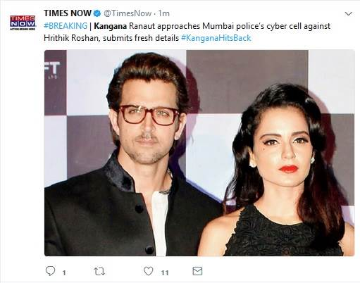 Kangana Ranaut replied back to Hrithik Roshan's statement