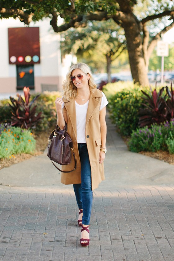 tan sleeveless vest-fall outfit idea-dallas fashion bloggers-burgundy satchel
