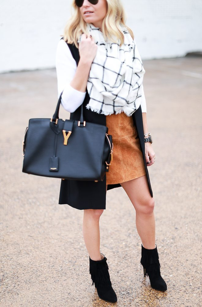 black long jacket with suede mini skirt and oversized blanket scarf-fashion bloggers dallas