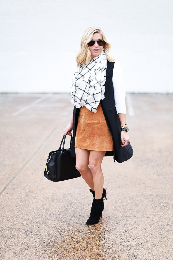 suede mini skirt outfit with black vest-windowpane scarf-dallas fashion blogger