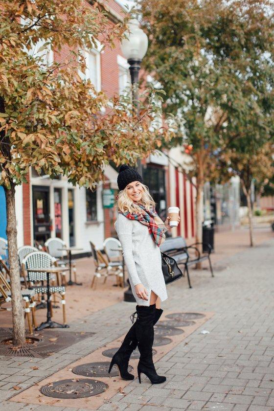 dallas fashion blogger-v neck sweater dress-grey sweater dress-plaid scarf-winter outfit idea