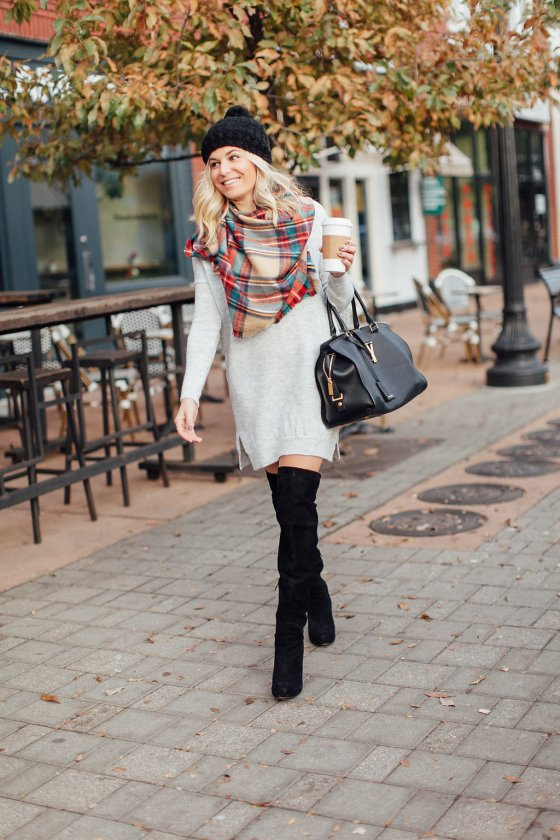 winter outfit inspiration-winter outfit idea-winter sweater dress outfit-grey sweater dress-tartan scarf-black over the knee boots-dallas fashion bloggers