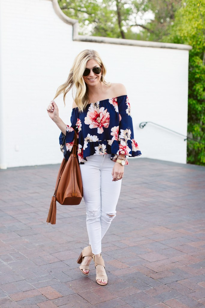 ced43feedc92b3 blue floral off the shoulder top-causal beach outfit-white ripped skinny  jeans-