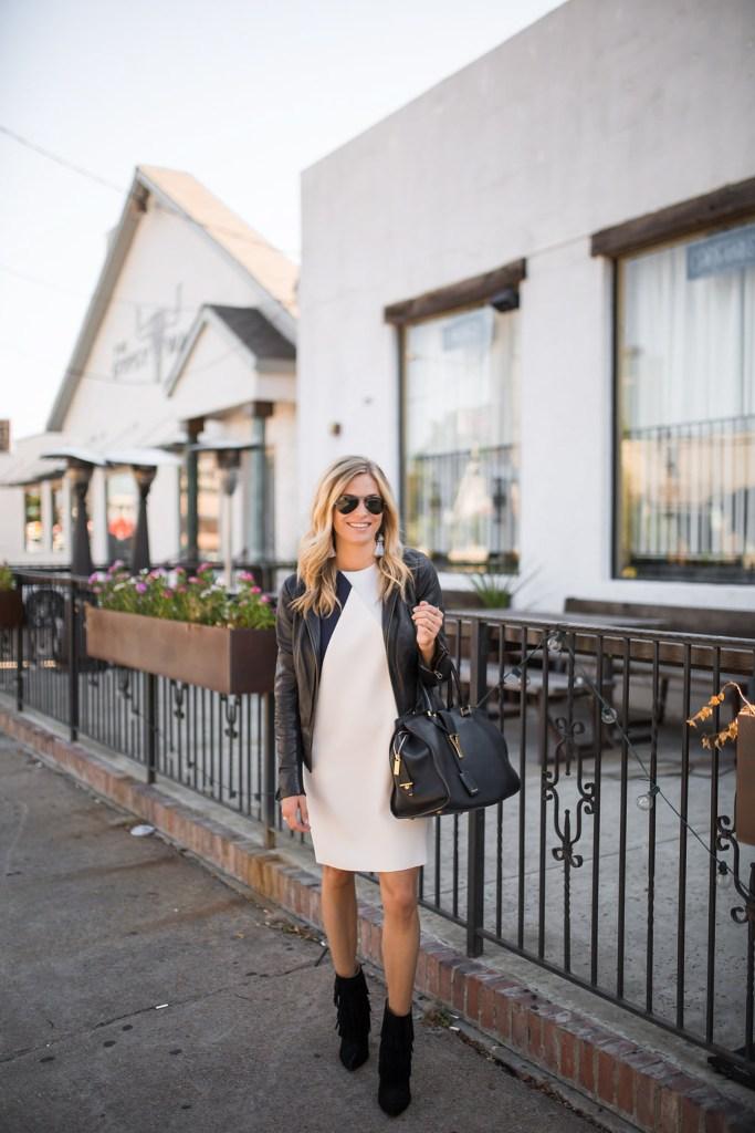 topshop dress - black leather jacket - black fringe booties - dallas fashion blogger