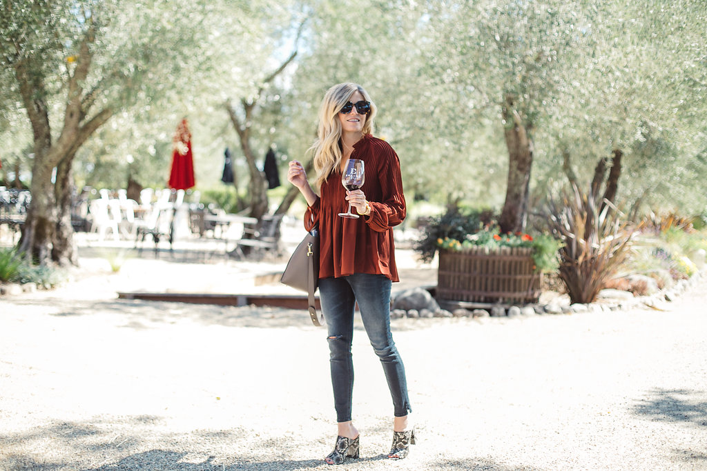 rust pleated blouse - dallas fashion blogger - fall outfit idea