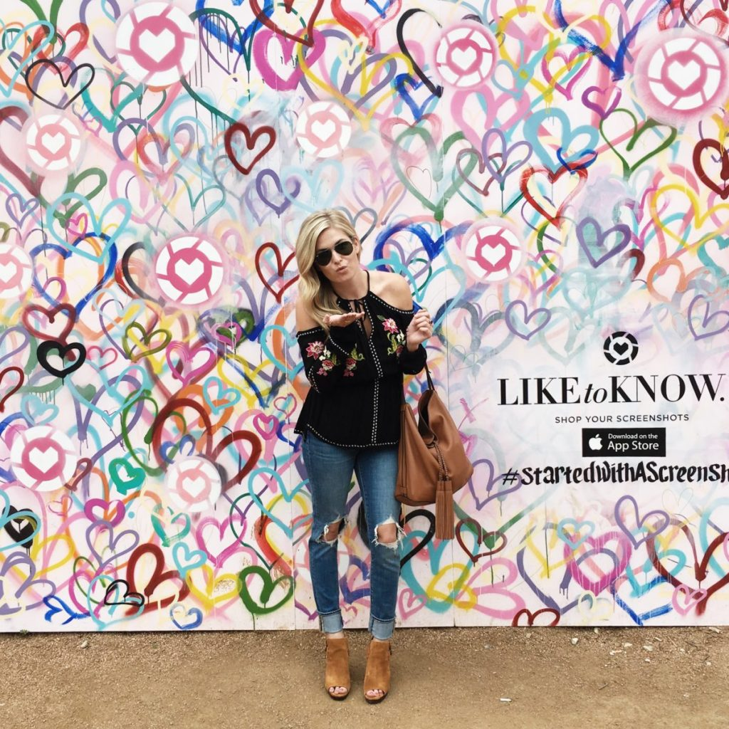 liketoknow.it wall sxsw, festival outfit idea, black cold shoulder top