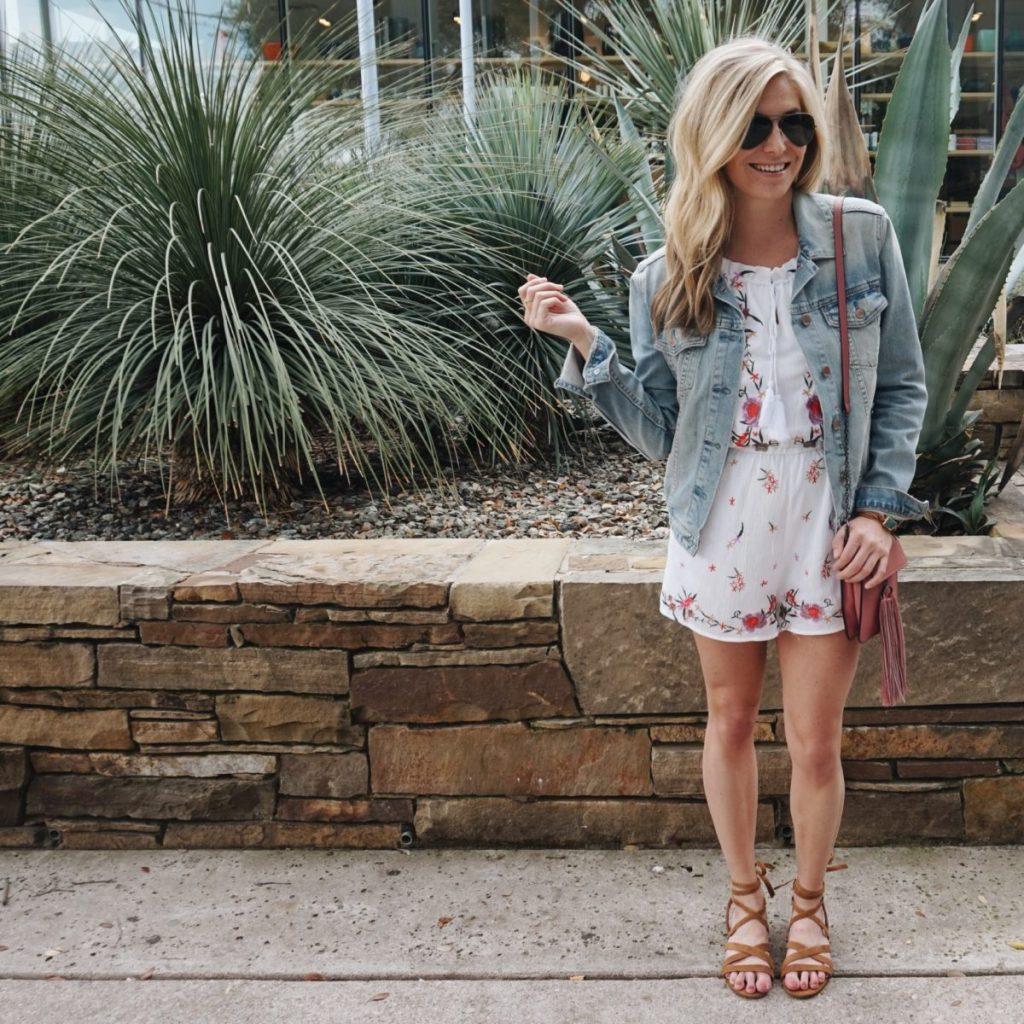 floral romper, jean jacket, festival outfit idea, brooke burnett, dallas style blog