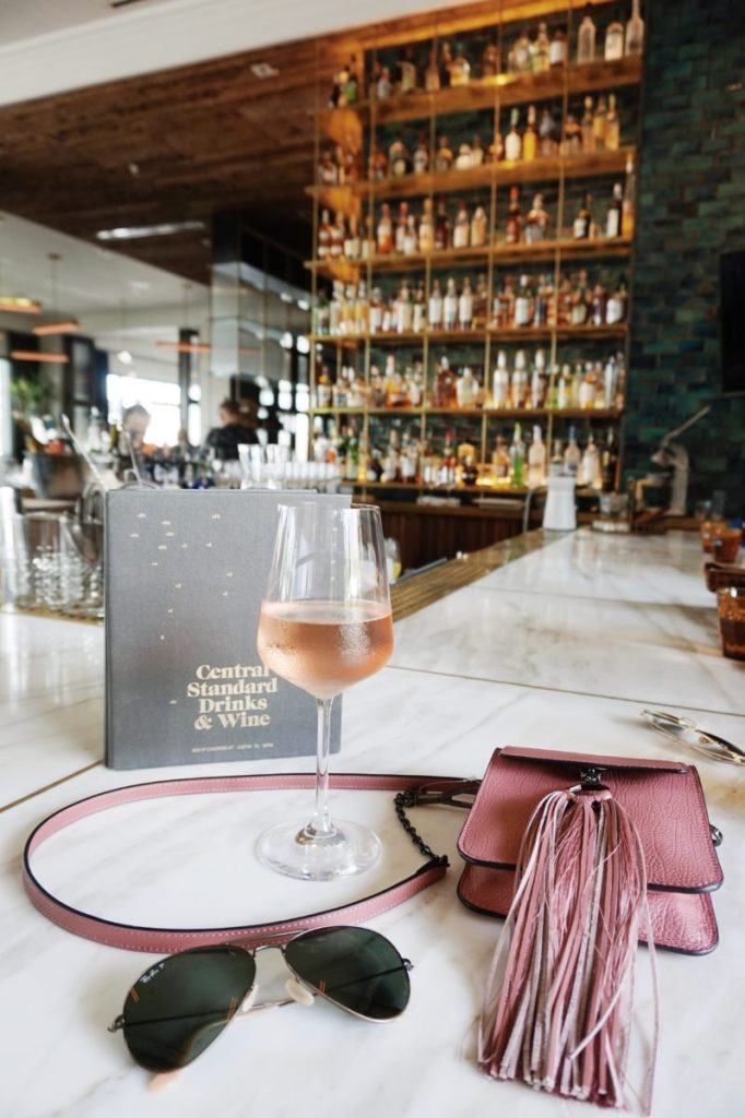south congress hotel bar, rose all day, pink tassel purse