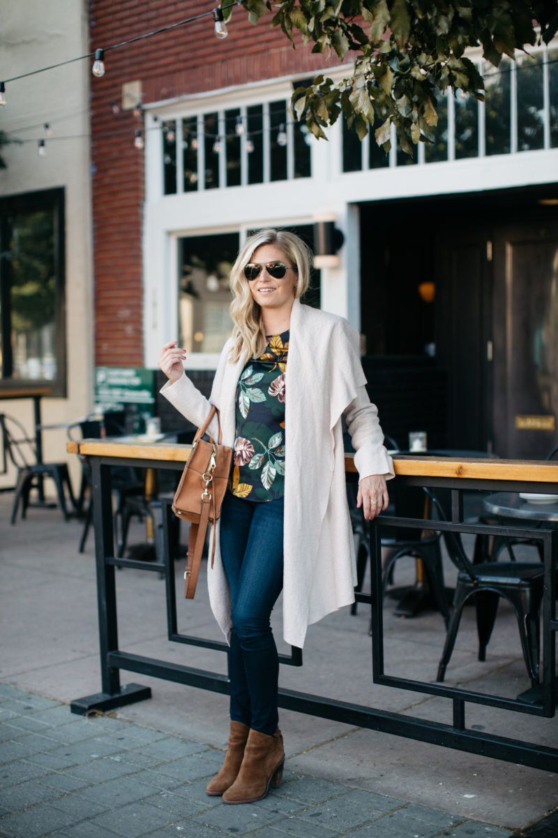 waterfall coat, fall weather, happy hour