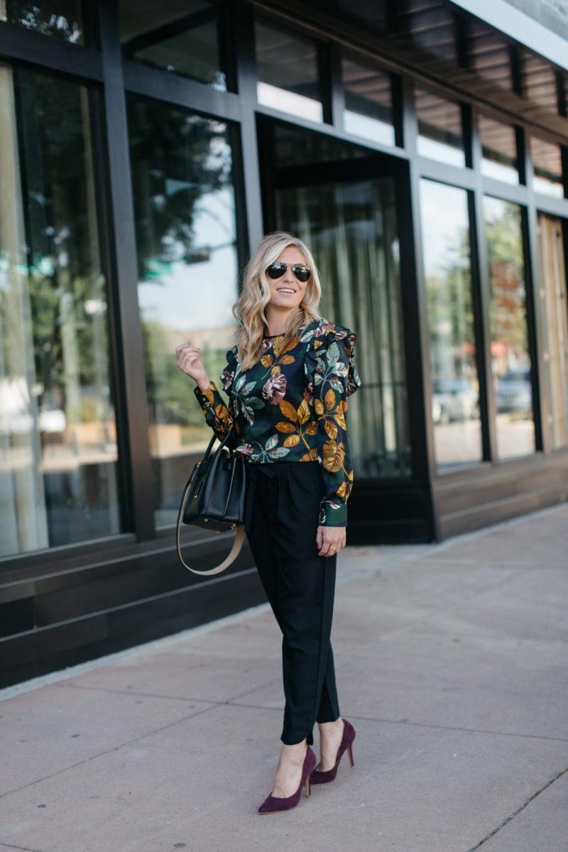 fashion blogger, brooke burnett, floral blouse