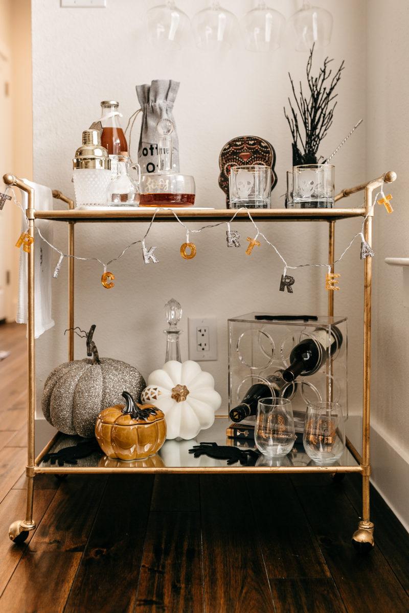 spooky, bar cart, fall necessities
