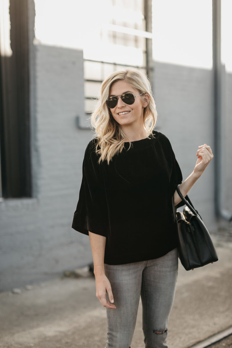 dallas, fashion blogger, velvet top