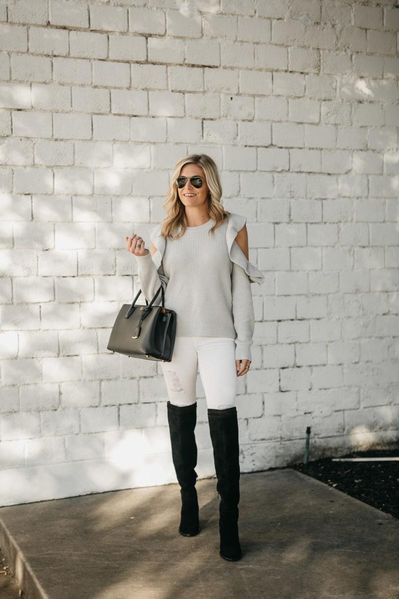 OTK boots, white jeans, white denim