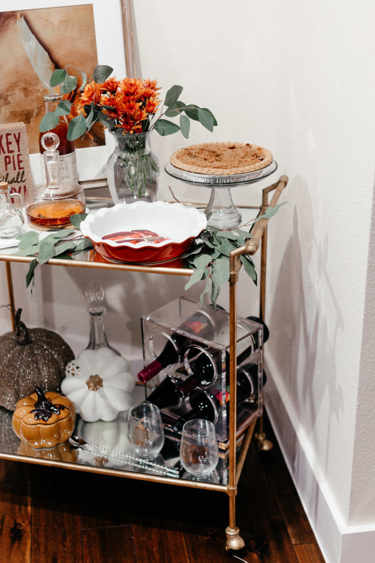 bar cart, thanksgiving, fall decor