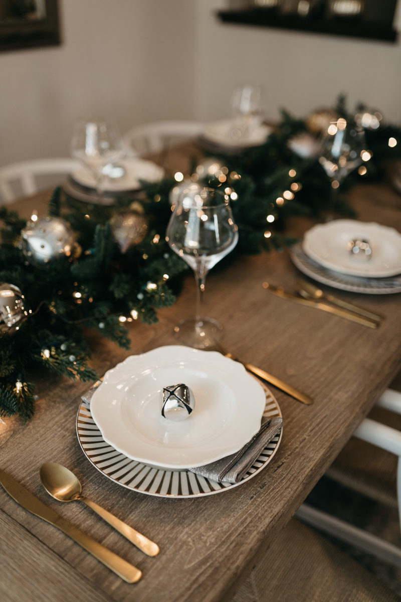 holiday entertainment, garland, wine glass