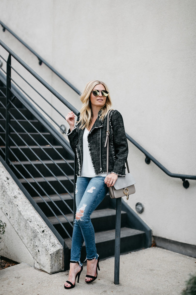 brooke burnett, casual street style outfit, trendy tweed jacket outfit