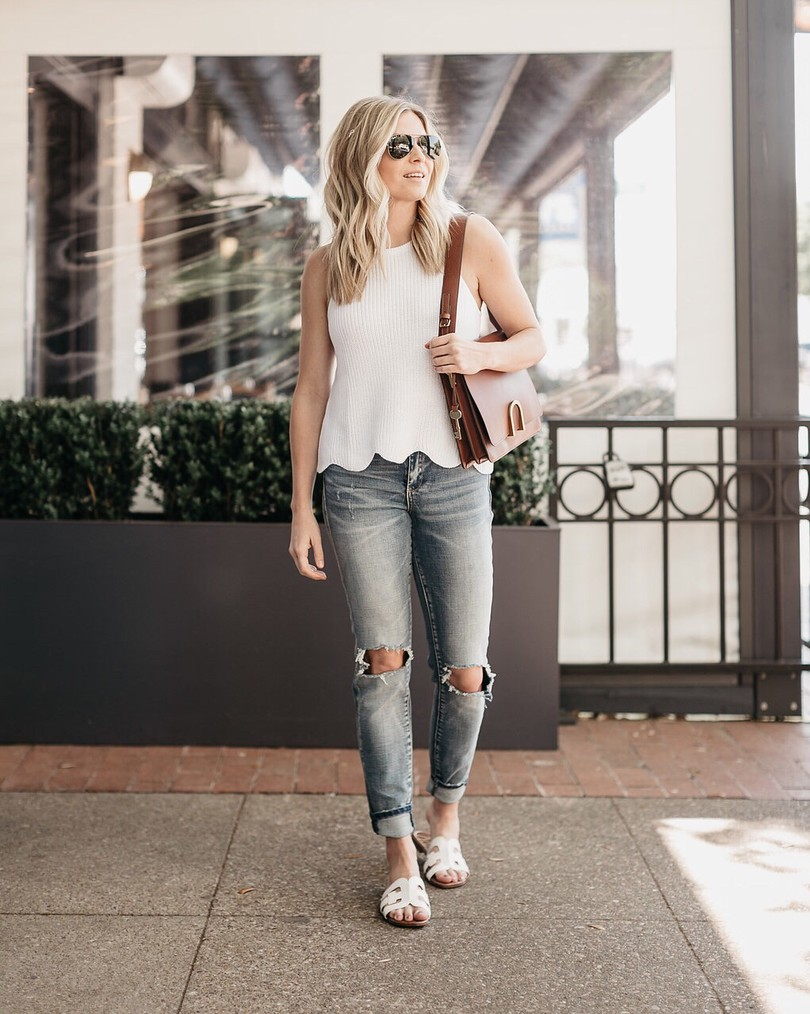Brooke Burnett wearing Autumn Cashmere sleeveless white sweater