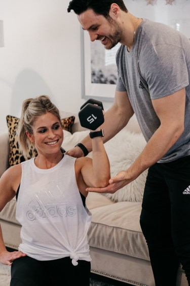Brooke Burnett is working out with her personal trainer