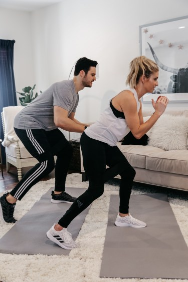 Brooke Burnett is working out with her trainer