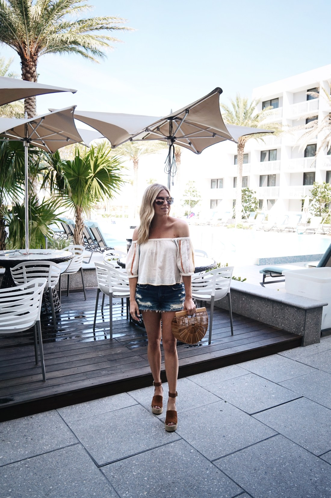 off the shoulder top beach vacation outfit