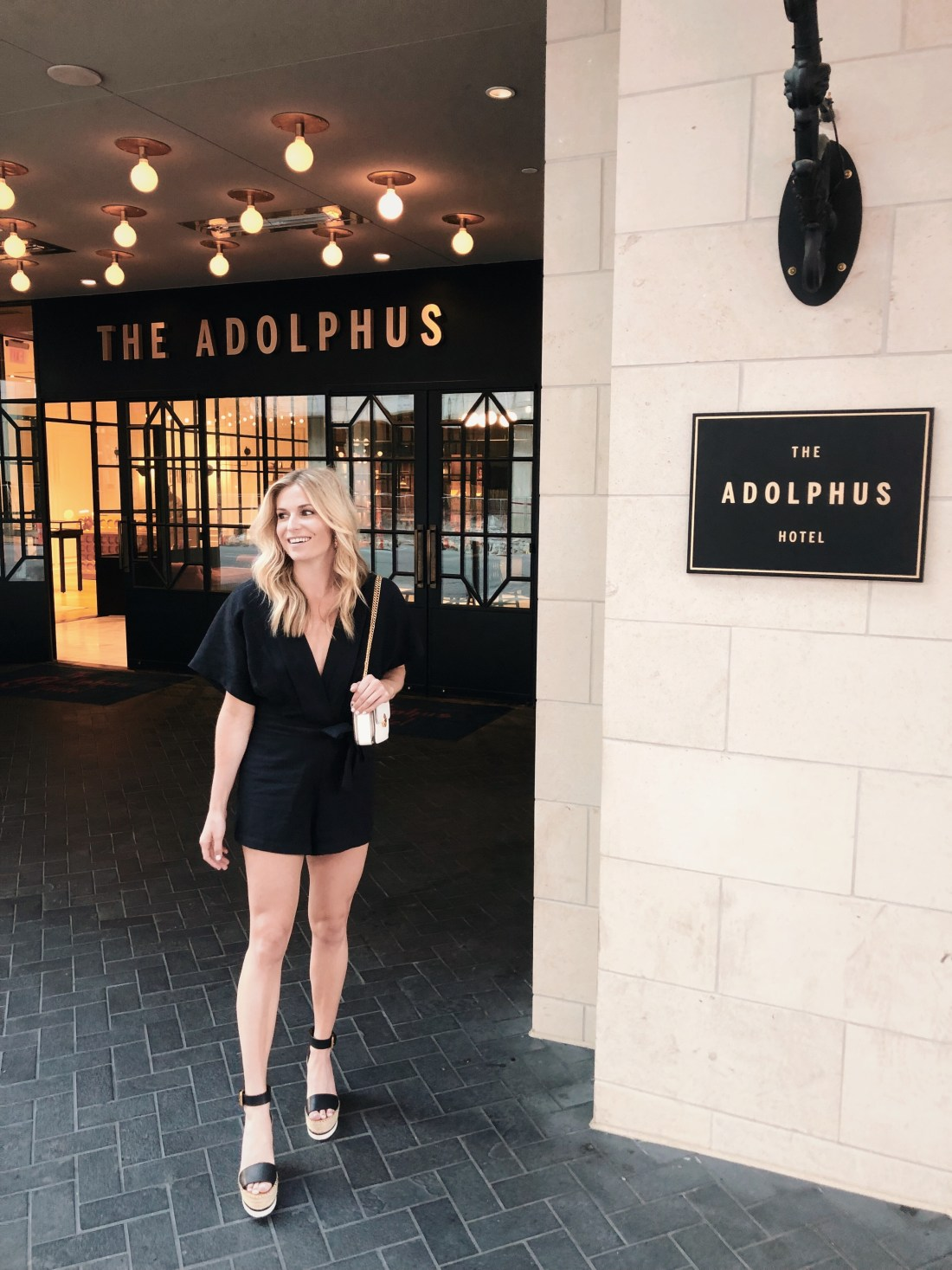 black tie front romper, black v neck romper, the adolphus hotel, black rompers