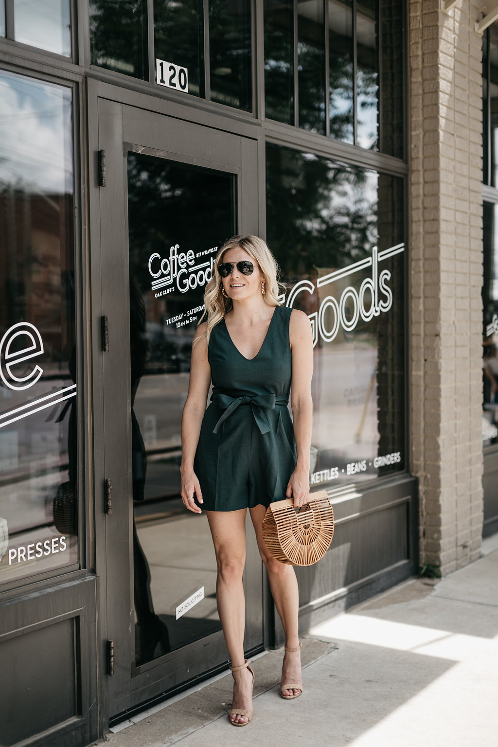 club monaco madria romper, tie front romper, summer outfit idea, deep green sleeveless romper, brooke burnett, dallas fashion blogger