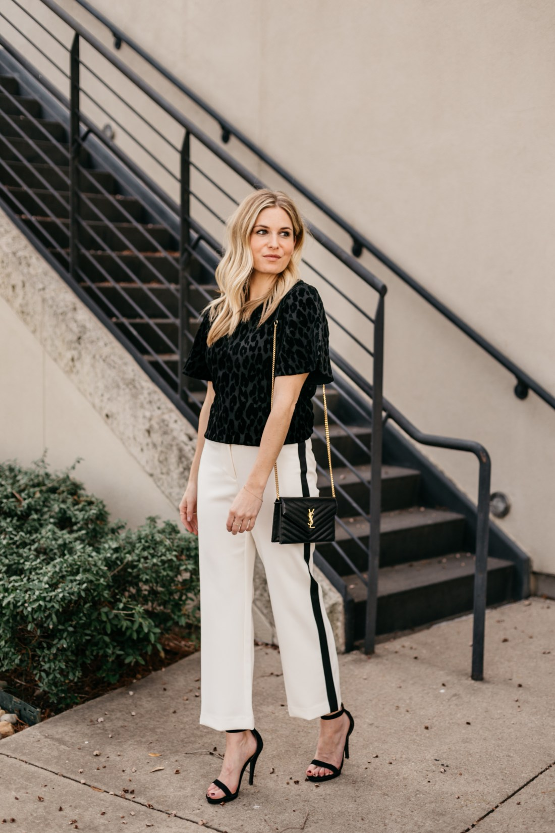 OUTFIT 3 Details:  White Wide Leg Stripe Pants // Black Short Sleeve Blouse // Black and Gold Crossbody Clutch // Black Strappy Heels