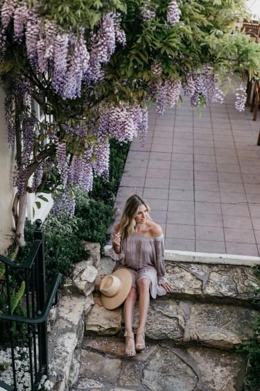 Brooke Burnett outfit details: Lavender Off The Shoulder Dress // Wide Brimmed Hat // Open Toed Cross Tan Heels