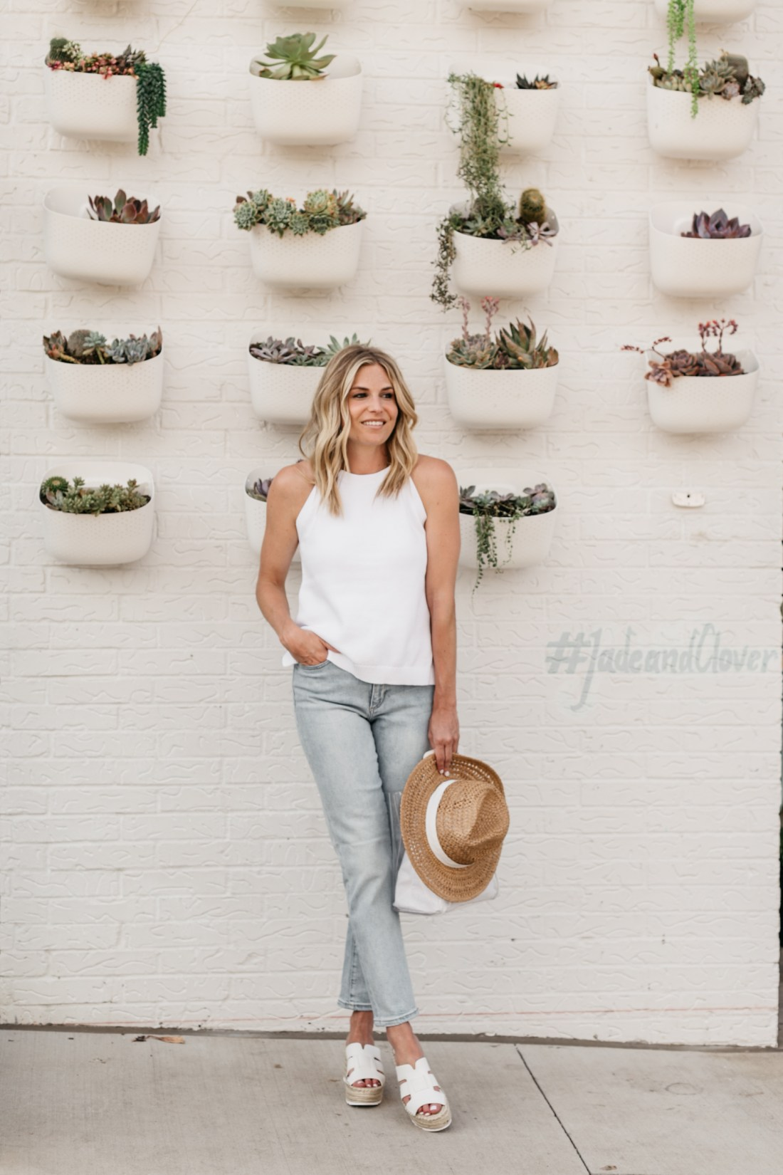One Small Blonde Outfit Details: White Tank // Light Wash Jeans // Straw Hat // White Wedges (ON SALE)
