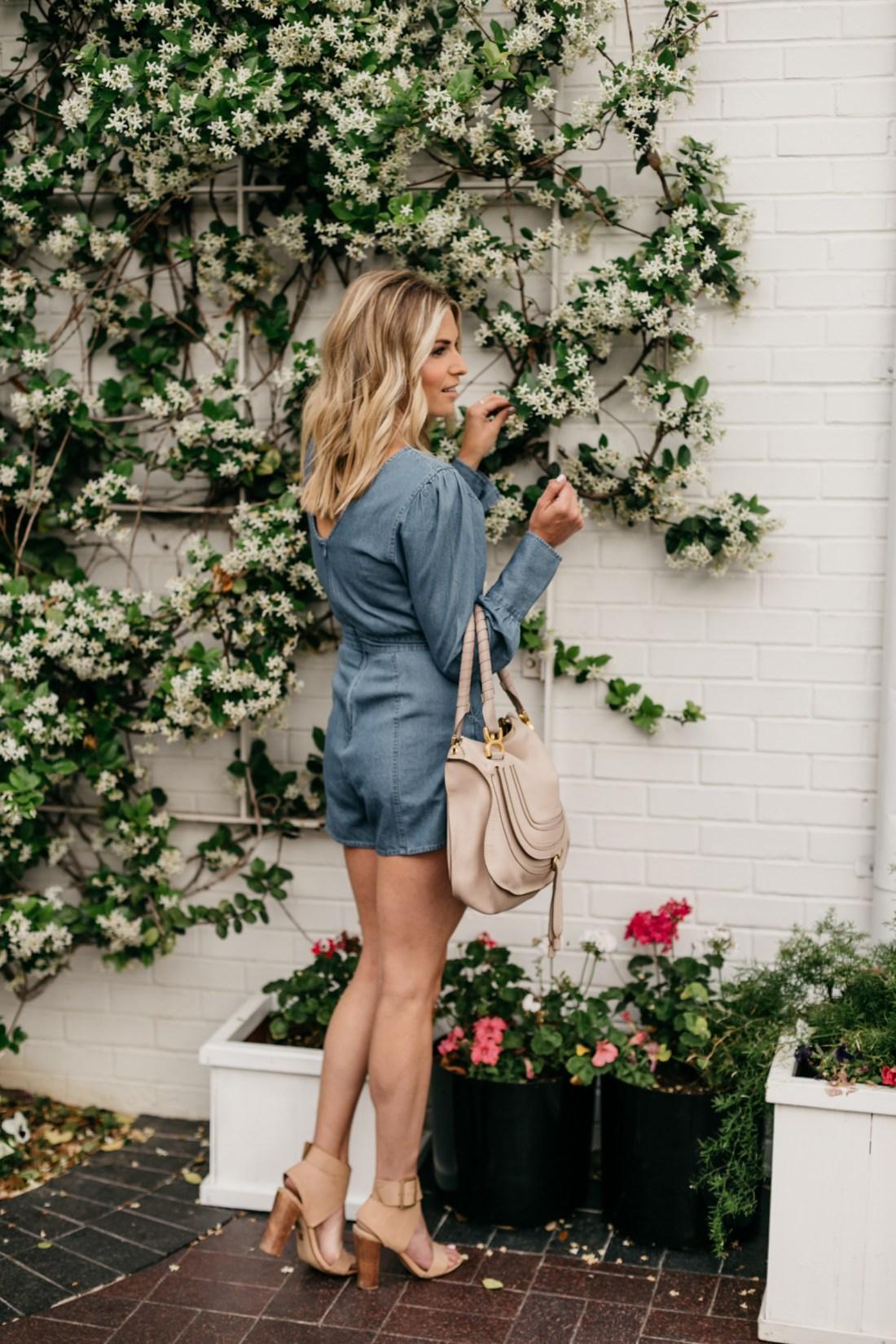 Spring Rompers on the blog - Brooke's outfit details: Denim Romper // Nude Block Heels // Chloe Marcie Handbag