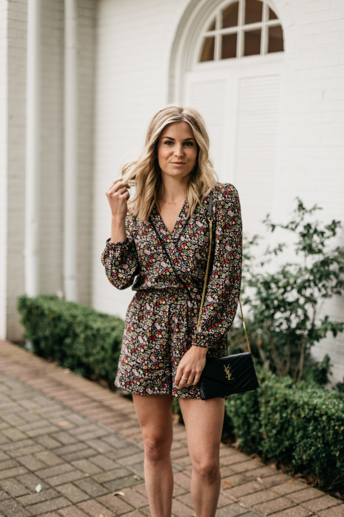 Brooke's outfit details: Floral Romper // YSL Crossbody