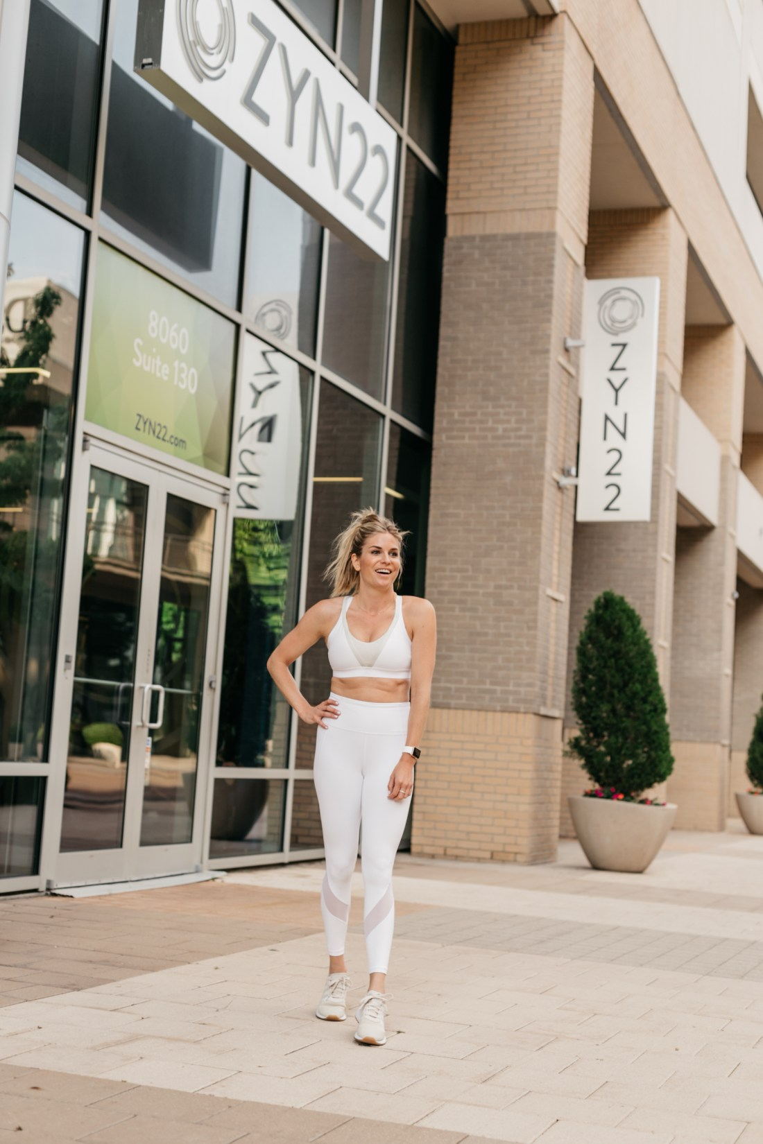 white workout clothes featured
