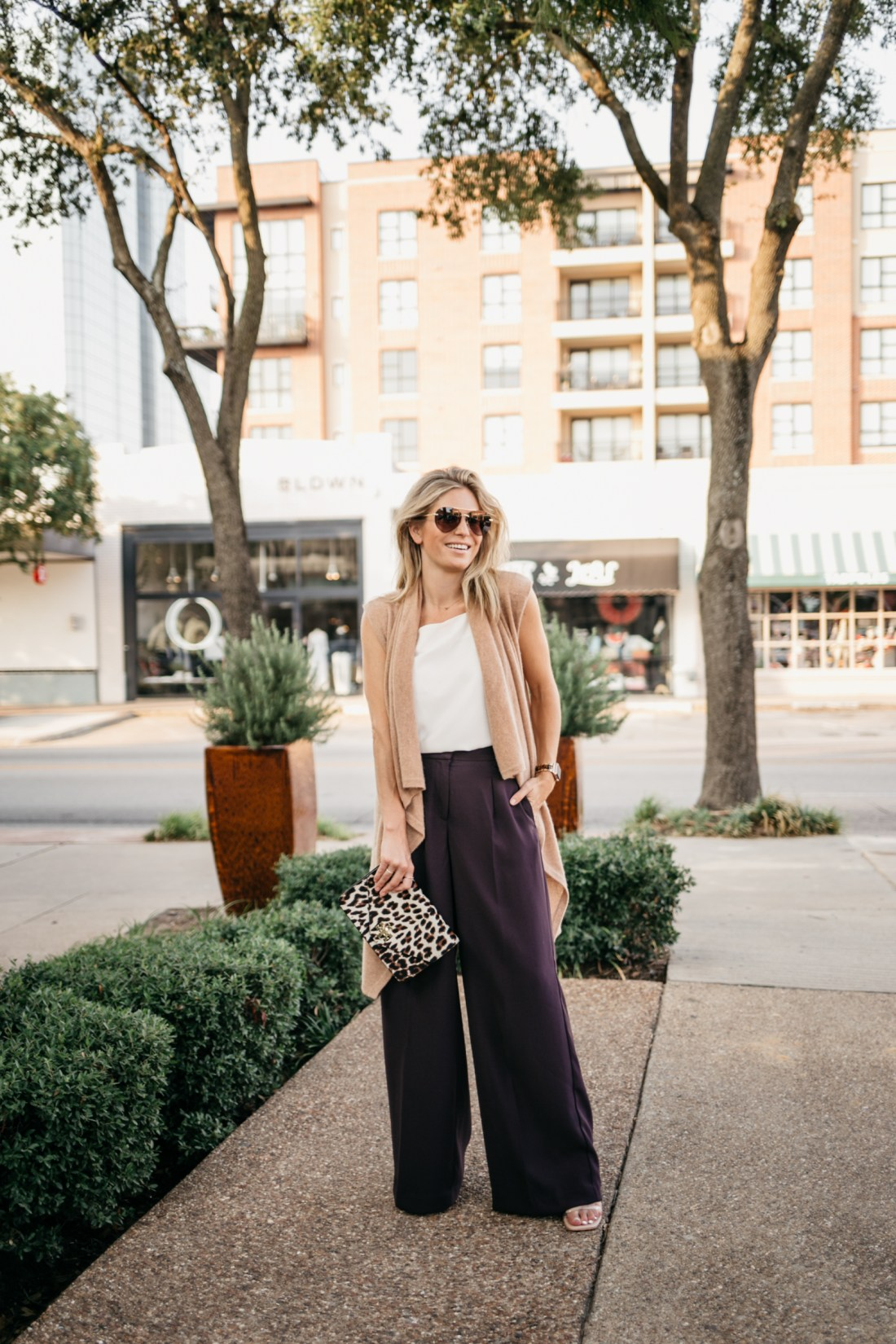 wear plum to work outfit of a sweater and pants