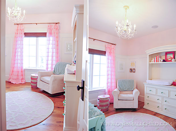 Lyla's adorable pink and aqua baby room - Love the chandelier! | See the entire nursery at One Small Child: www.onesmallchild.com