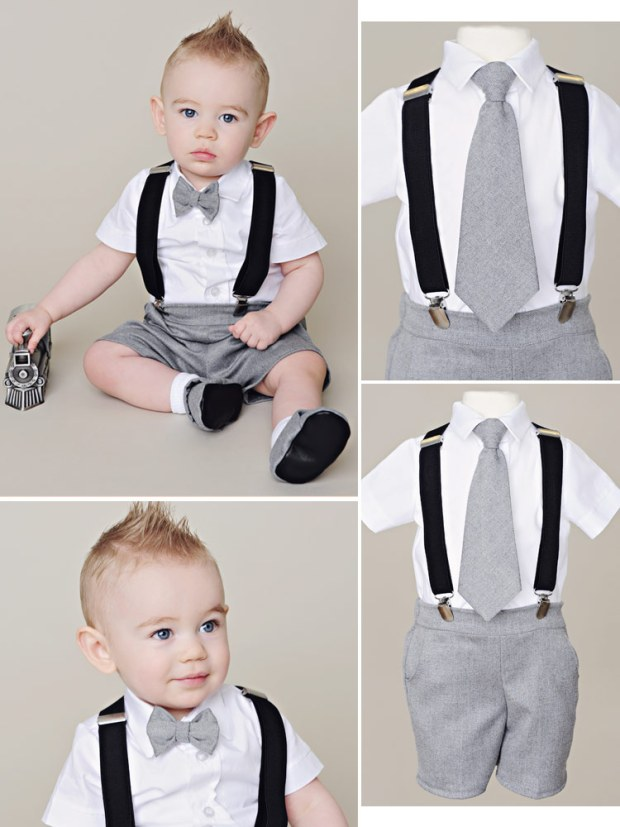 Gray Shorts Suspender Set for Baby