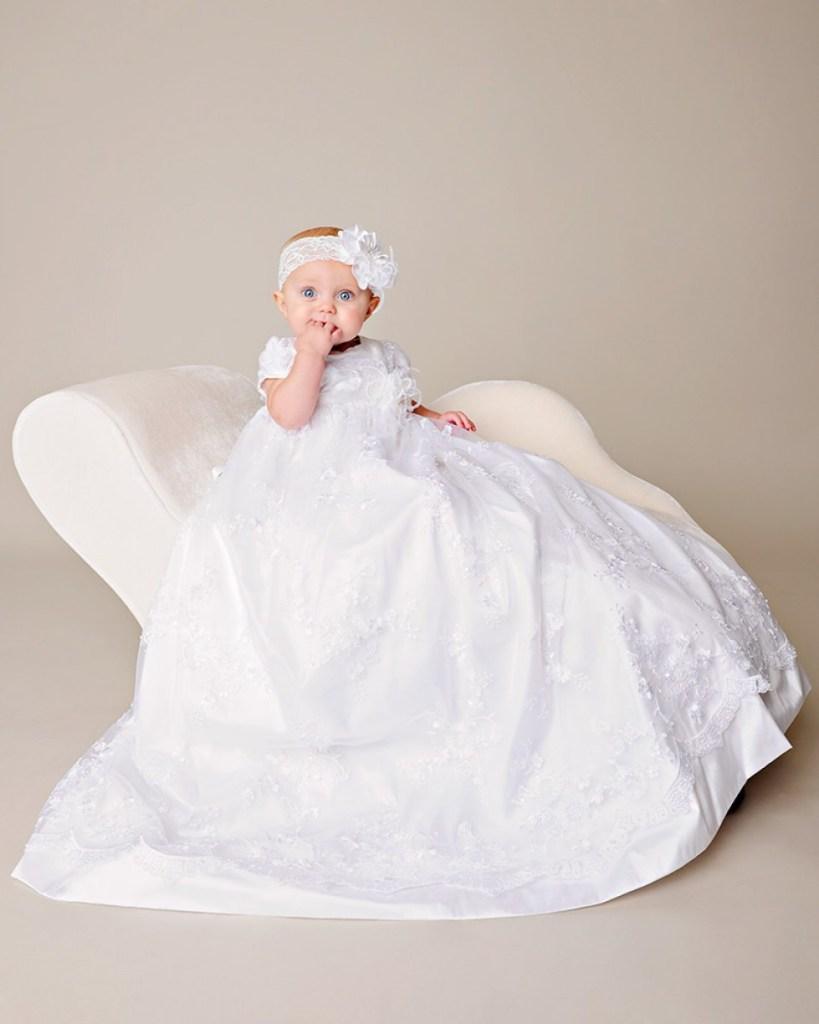 Preslee Beaded Silk Christening Gown