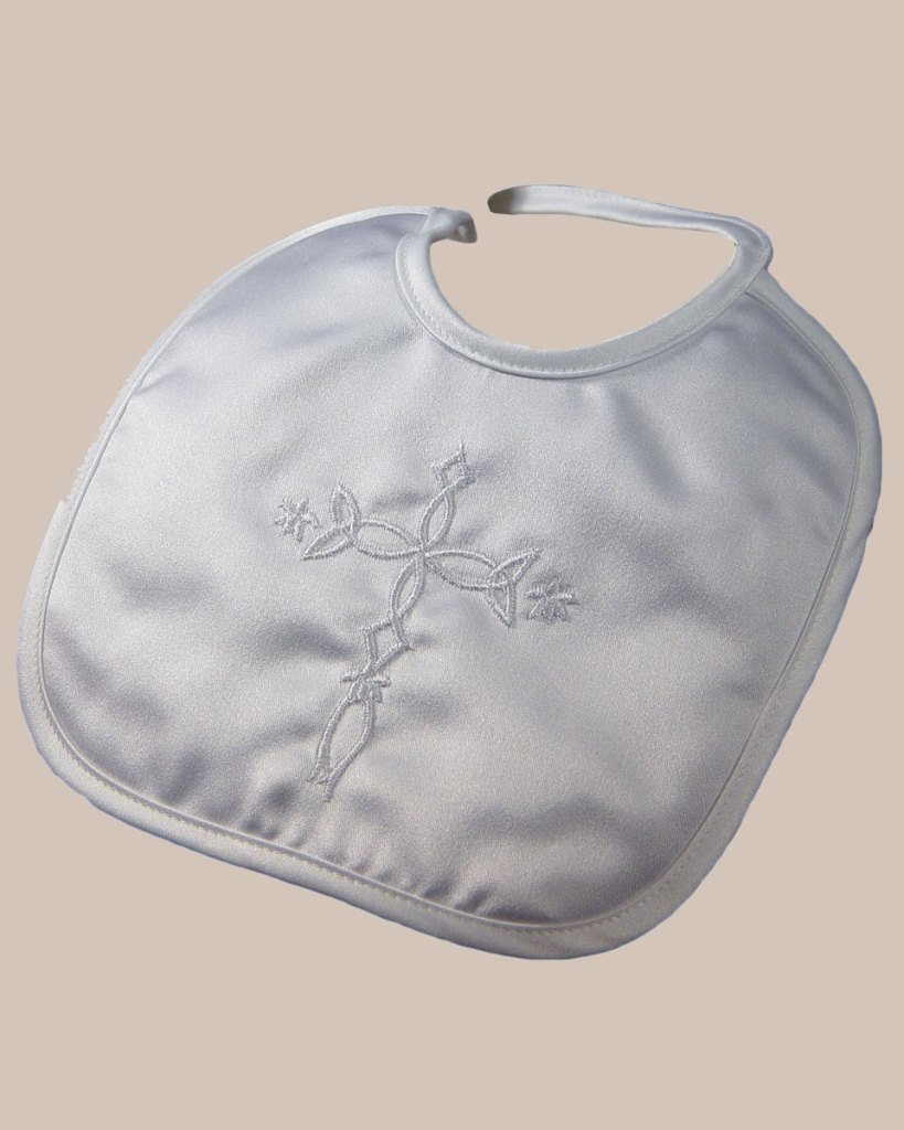 Matte Satin Christening Bib with Embroidered Celtic Cross