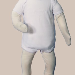 Unisex Cotton Knit Christening Onesie Coverall with Embroidered Cross