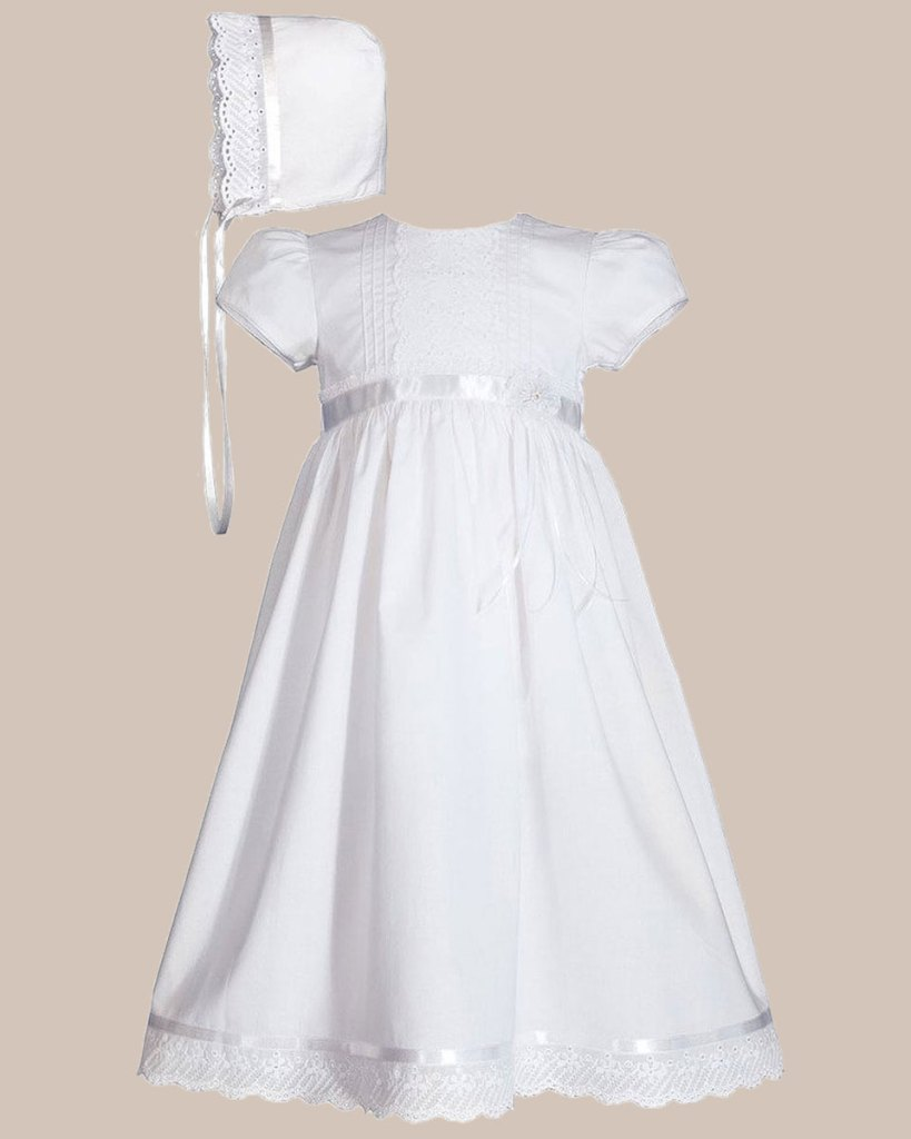 """Girls 24"""" Cotton Dress Christening Gown Baptism Gown with Lace and Ribbon"""