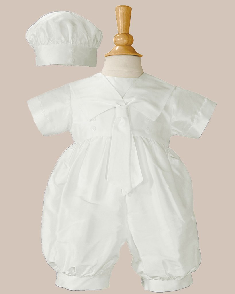 Boys Silk Christening Baptism One Piece Romper with Sailor Collar and Hat