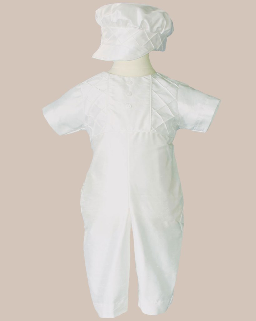 Boys White Silk Christening Baptism Outfit Set With Pin Tucking and Captains Hat