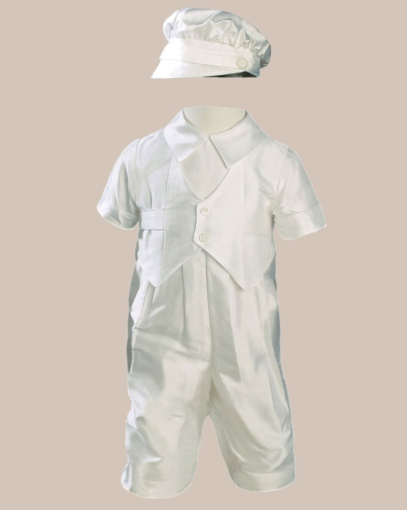 Boys Silk Dupioni Vested Christening Baptism Coverall with Hat